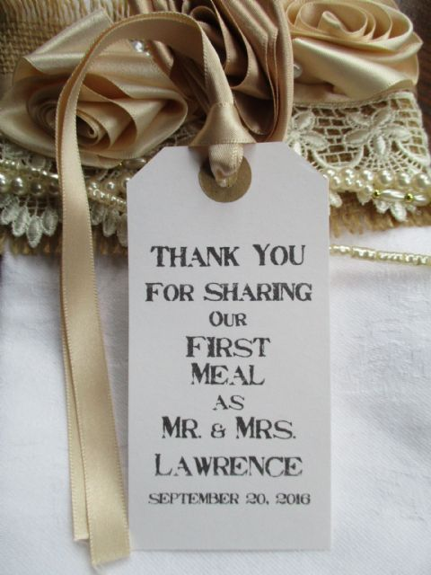 10 Rustic Wedding Table Place Setting White Tag Napkin Tie Personalized 108 x 54mm